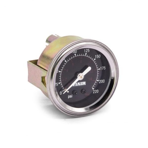 "2"" Single Needle Air Pressure Gauge, 220 PSI (1-Valve), Black"